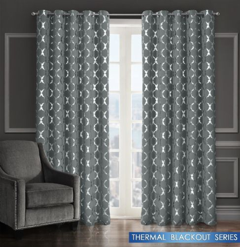 GEOMETRIC LATTICE METALLIC LIVINGROOM BEDROOM THERMAL BLACKOUT RING TOP CURTAINS GREY